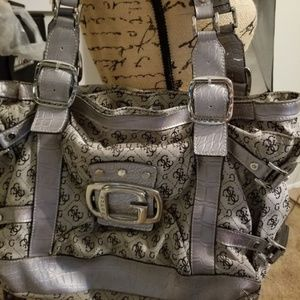 Large Guess Silver Accent Shoulder Hand Bag